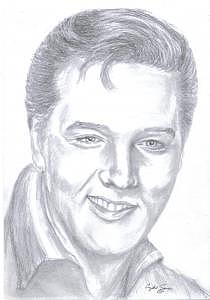 Portrait Drawing - Elvis The King Presley by Crystal Sons