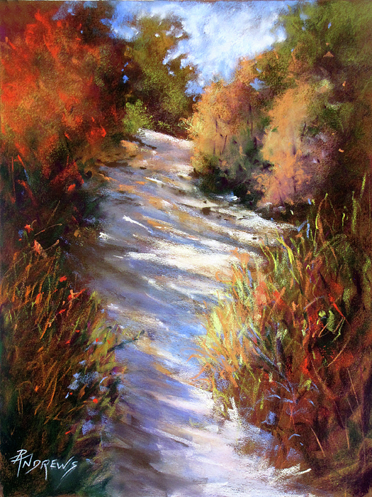 Landscape Painting - Embankment And Shadows by Rae Andrews