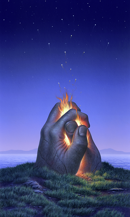 Fire Painting - Embers Turn To Stars by Jerry LoFaro