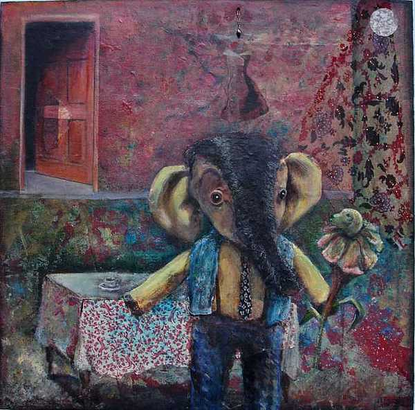 Elephant Painting - Embrace by Linda Mitchell