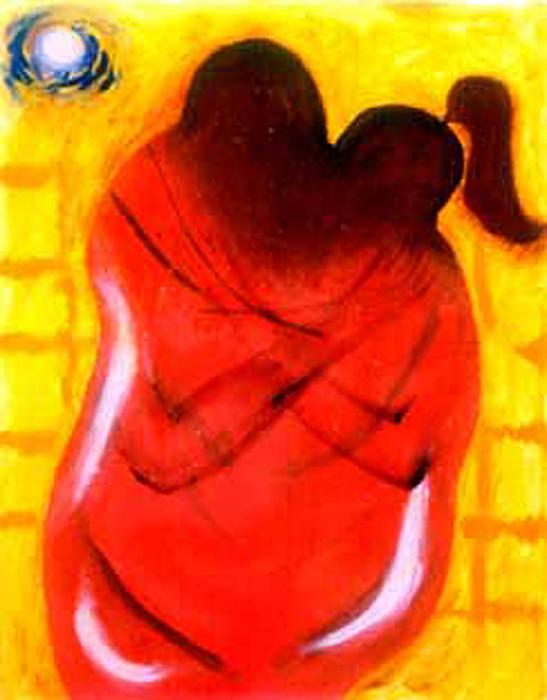 Kiss Painting - Embrace by Narayanan Ramachandran