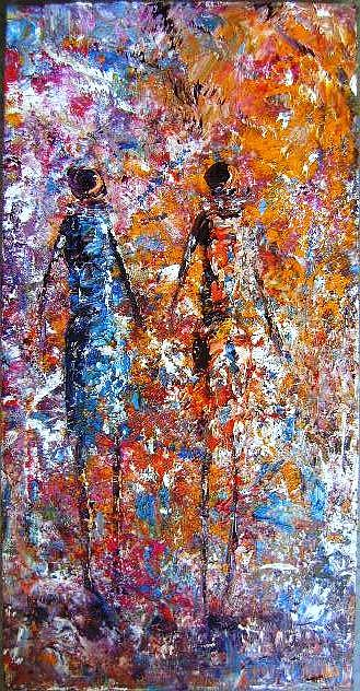 Cultural Painting - Emerging Ladies by Joseph Muchina