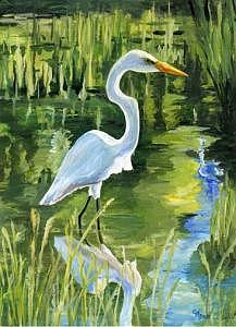 Egret Painting - Eminent Domain by Cheryl Pass