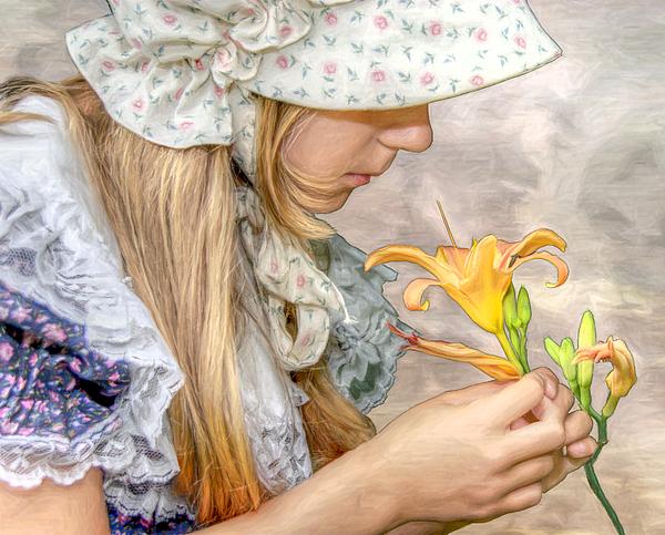 Girl Digital Art - Emma With Flower Portrait by Randy Steele