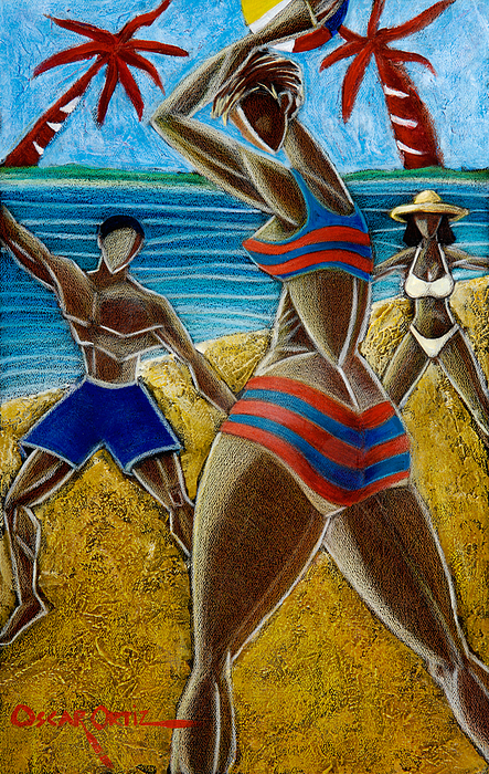 Beach Painting - En Luquillo Se Goza by Oscar Ortiz