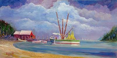 Fish House Painting - End Of The Day by Bob Pittman