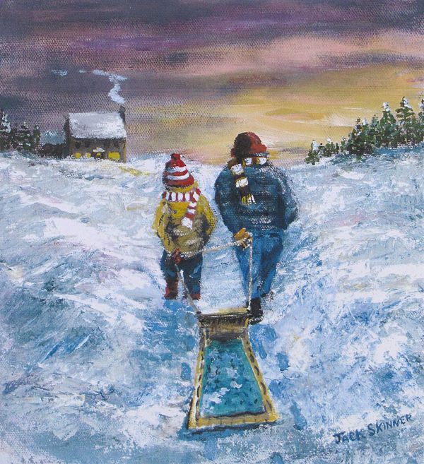 Snow Painting - End Of The Day by Jack Skinner