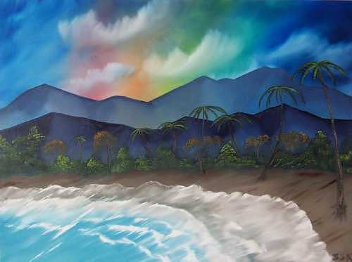 Beach Painting - End Of The Rainbow - Unframed by Sheldon Kiroff