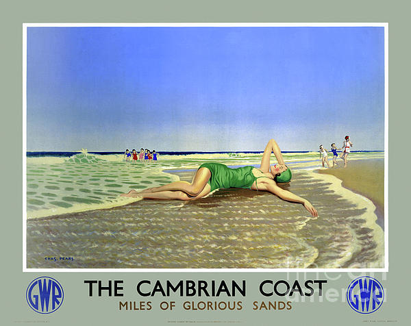 Vintage Travel Drawing - England Cambrian Coast Vintage Travel Poster by Carsten Reisinger