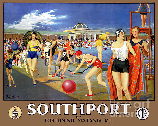 Vintage Travel Drawing - England Southport Restored Vintage Travel Poster by Carsten Reisinger