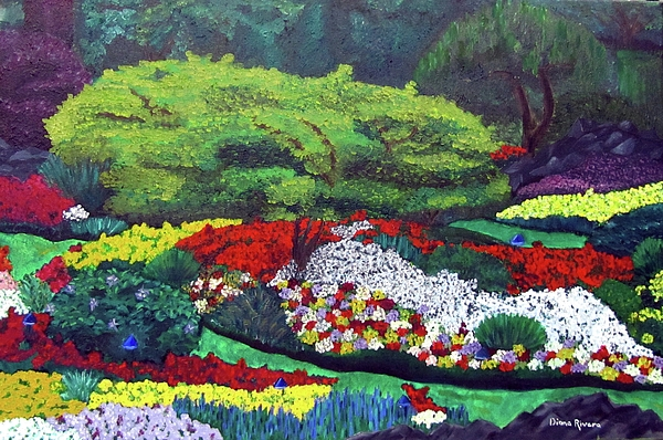 Bright Painting - English Garden by Diana Rivera