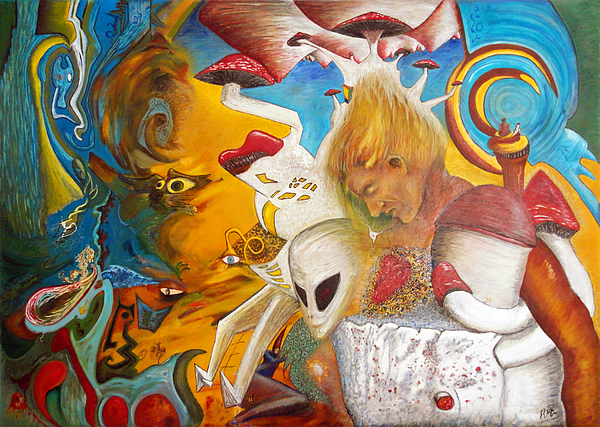 Magic Mushrooms Painting - Entre Dos Mundos - Between Two Worlds by Raul Morales