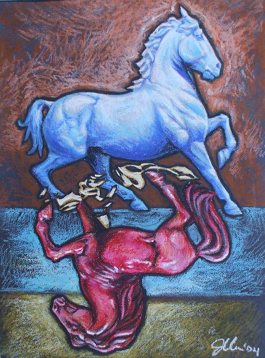 Horse Drawing - Equus by Jennifer Bonset