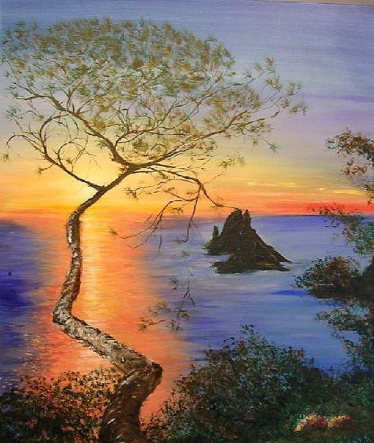 Sunset Painting - Es Vedra Island Off Ibiza South Coast by Lizzy Forrester