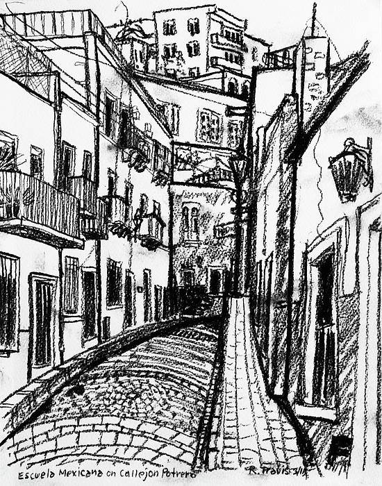 Street Drawing - Escuela Mexicana by Rich Travis