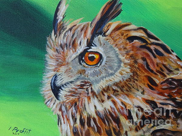 Owl Painting - Eurasian Eagle-owl by Isabel Proffit