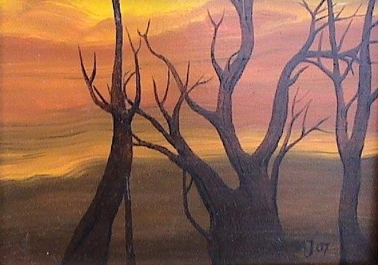 Wood Painting - Evening by Amrei Al-Tobaishi-Jarosch