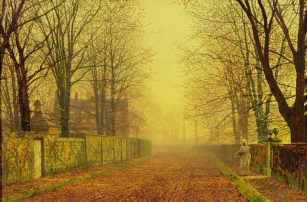 The Fall Painting - Evening Glow by John Atkinson Grimshaw