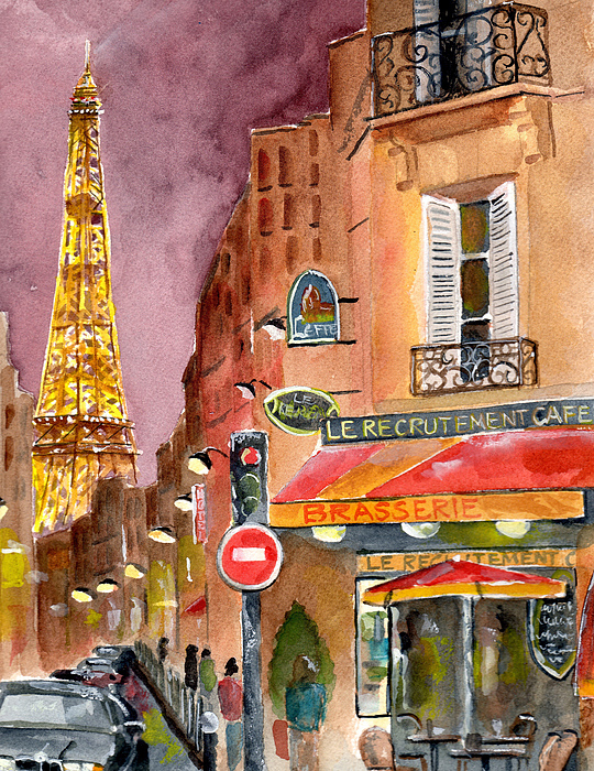 Painting Painting - Evening In Paris by Sheryl Heatherly Hawkins