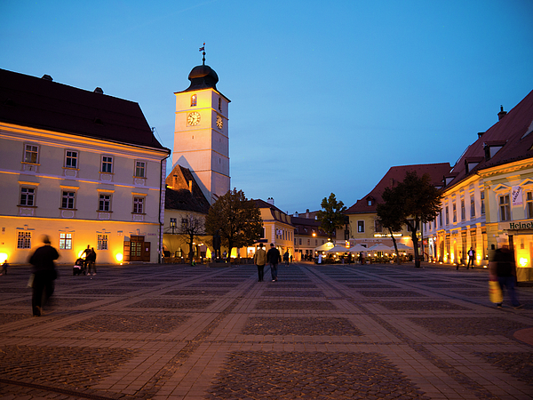 Sibiu Photograph - Evening In Sibius Grand Square by Rae Tucker