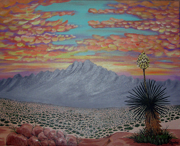 Desertscape Painting - Evening In The Desert by Marco Morales