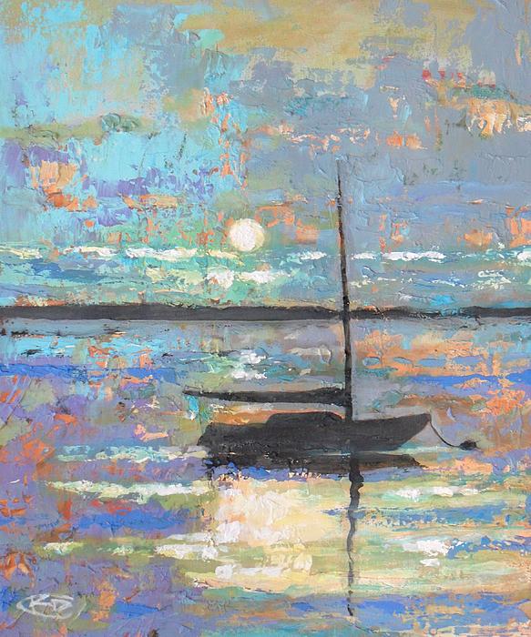 Sailing Painting - Evening Moon by Kip Decker