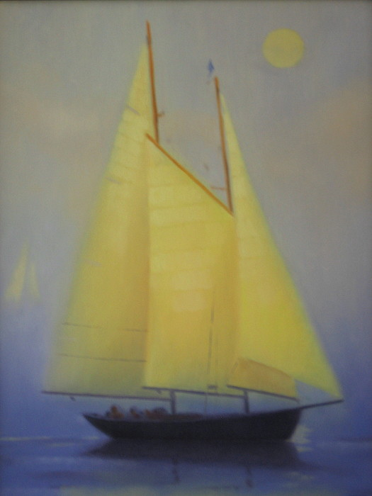 Yellow Painting - Evening Sail by David Rodman Johnson