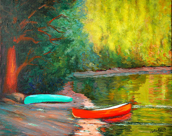 Canoes Painting - Evening Sanctuary by Laura Carberry
