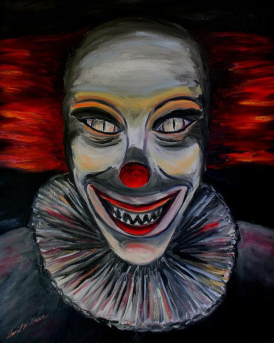 Halloween Painting - Evil Clown by Daniel W Green