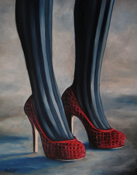 Female Painting - Evil Shoes by Jindra Noewi
