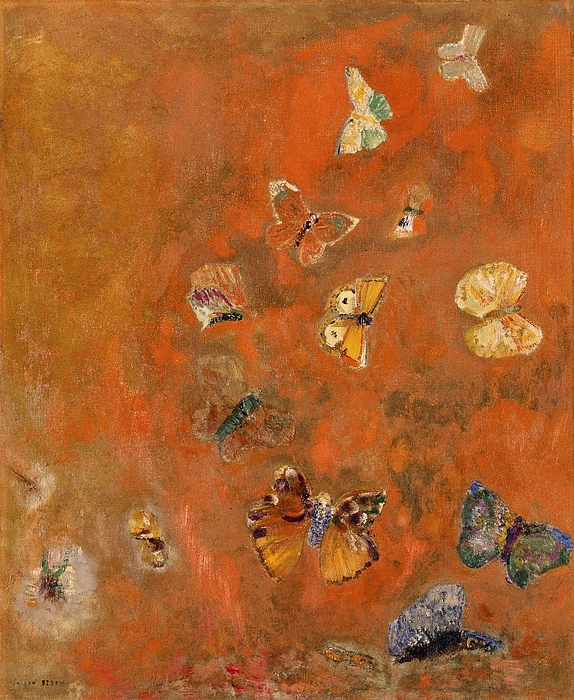 Butterflies Painting - Evocation Of Butterflies by Odilon Redon