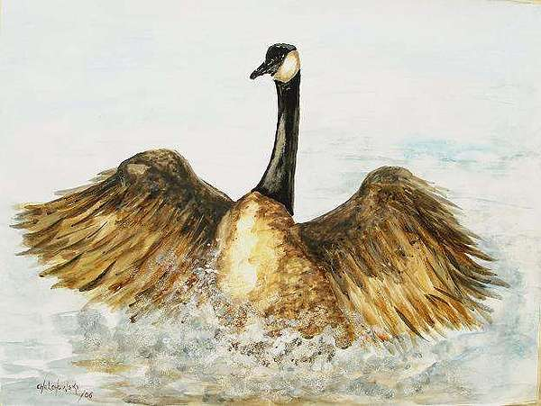 Excited Goose Painting by Miroslaw Chelchowski