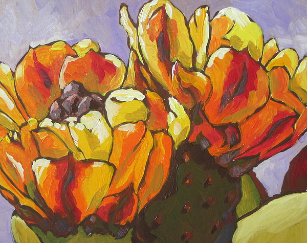 Prickly Pear Painting - Explosion Of Color by Sandy Tracey