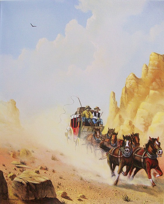 Western Painting - Express Run by Don Griffiths