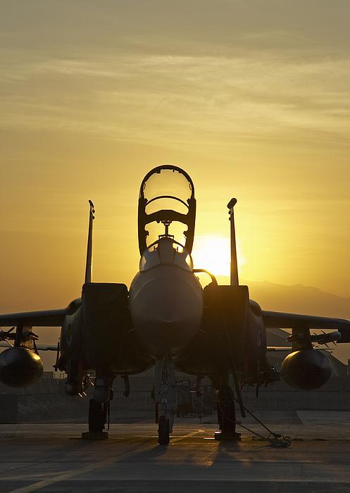 Jet Photograph - F-15e Sunrise Portrait by Tim Grams