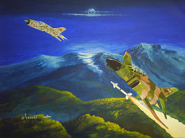 Vietnam War Painting - F-4 Phantom Vrs. Mig 21 by Dennis D Vebert