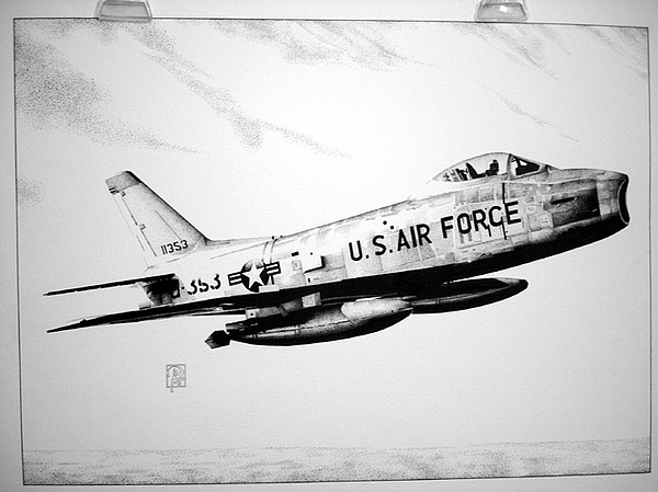 Military Drawing - F-86 Sabre by Bobby Kro