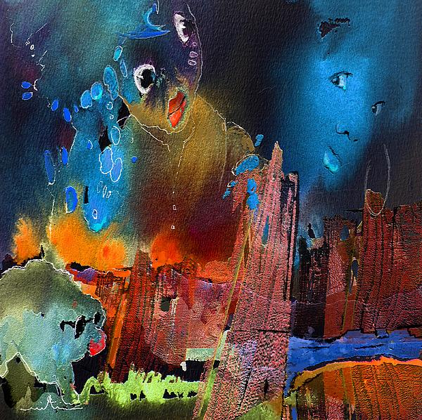 Fantasy Painting - Face Dances by Miki De Goodaboom