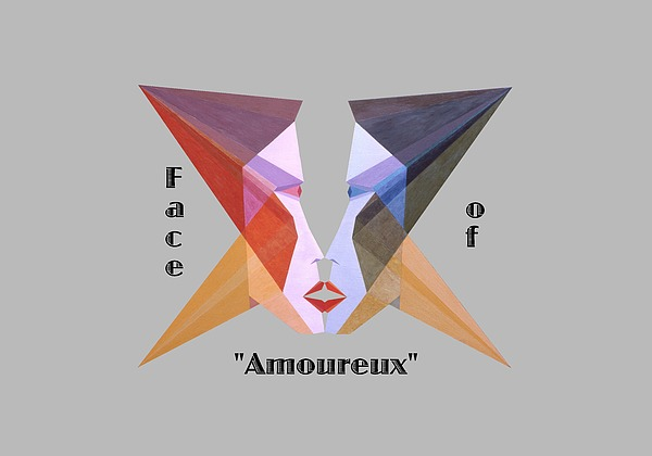 Painting Painting - Face Of Amoureux Text by Michael Bellon