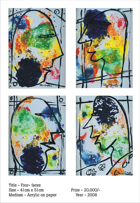 Abstract Painting - Faces by Phoolsingh Bairwa