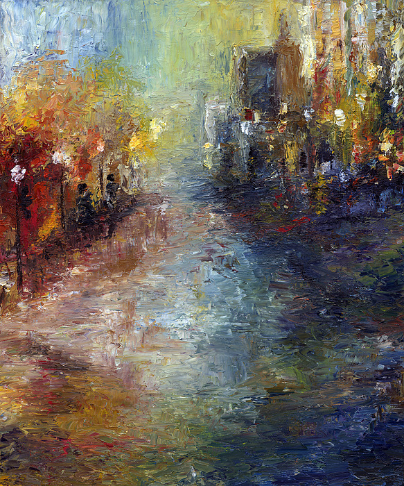 Cityscape Painting - Fade Into Light by Laura Swink