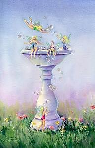 Birdbath Digital Art - Faeries - Faries Bubblebath by Sharon Sharpe
