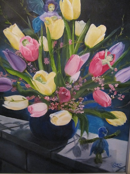 Tulips Painting - Fairies And Tulips by Gloria Condon