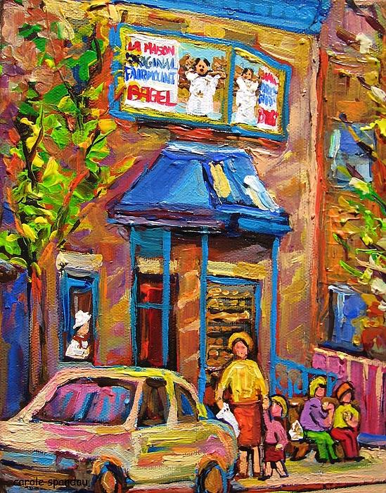 Fairmount Bagel Painting - Fairmount Bagel Fairmount Street Montreal by Carole Spandau