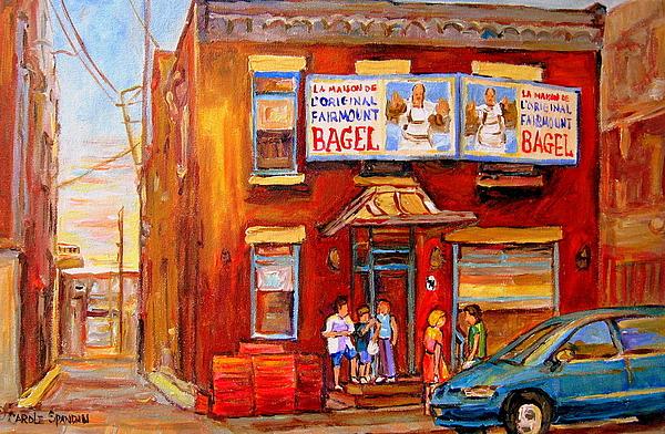 Montreal Painting - Fairmount Bagel Montreal Street Scene Painting by Carole Spandau