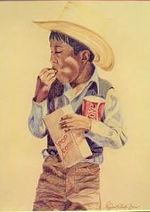 Native American Boy Drawing - Fairs Fare Enjoyment by Margaret A Clark Price
