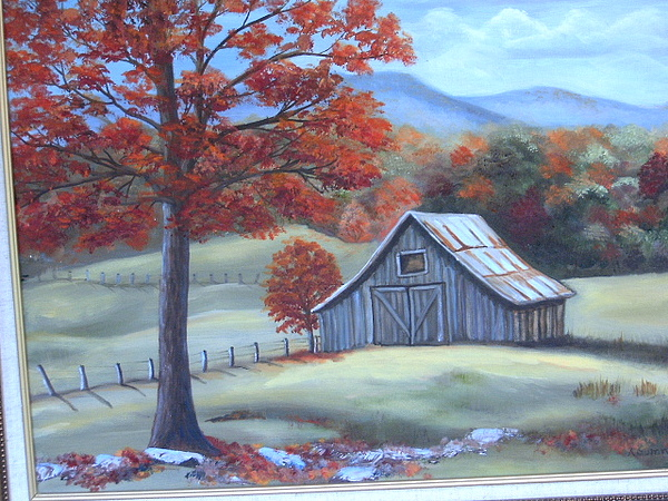 Fall Painting - Fairview Barn by Audrie Sumner
