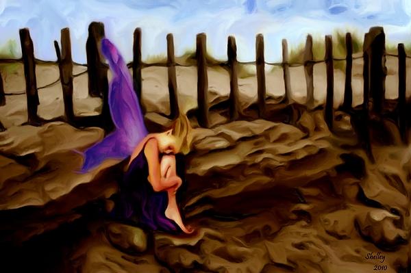 Bain Painting - Fairy Sleeping On The Dunes by Shelley Bain