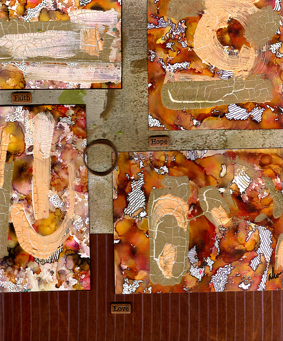 Wood Mixed Media - Faith Hope Love by Angela L Walker
