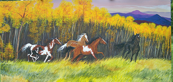 Horses Painting - Fall Colors by Diane Sellers